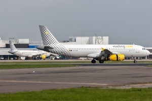 Vueling Airlines at Cardiff Airport. ©2014 Phil Woods